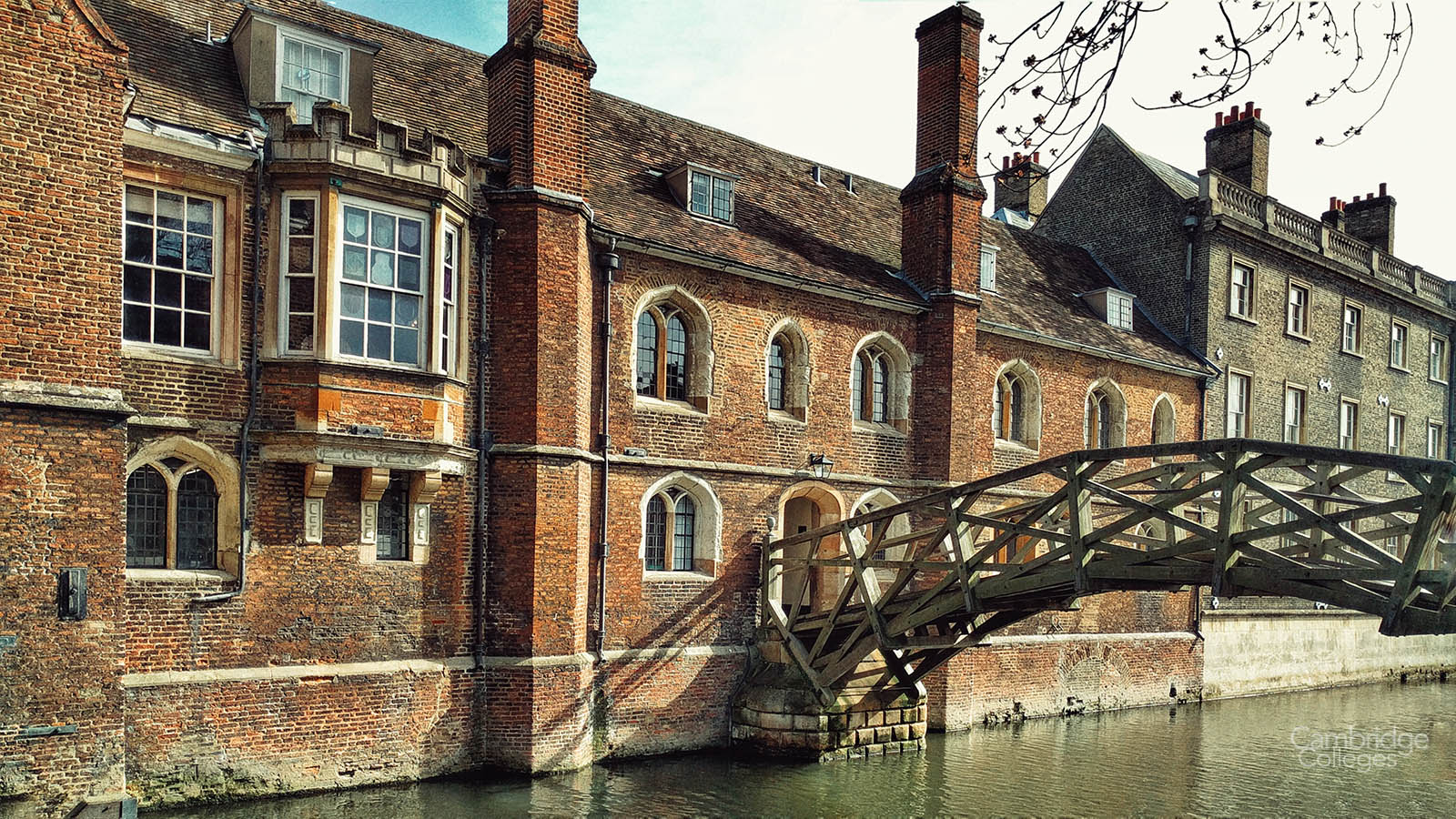 The wooden bridge, better known as the Mathematical bridge