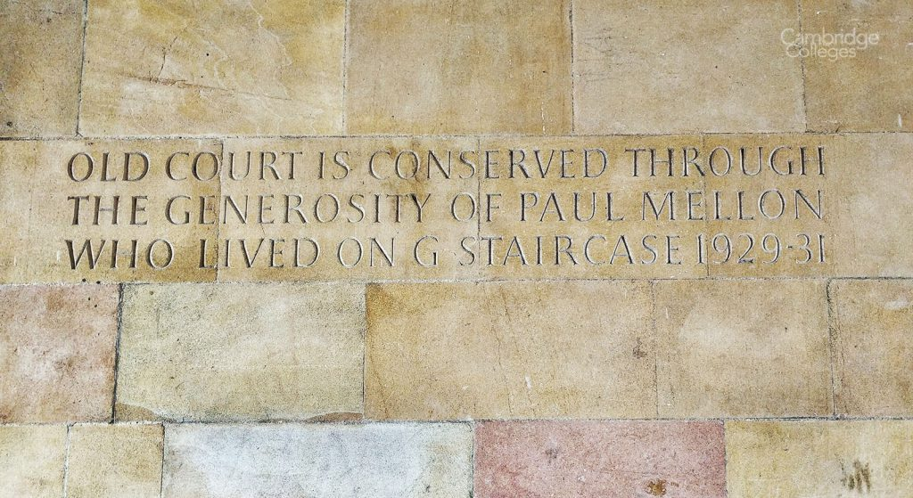 Paul Mellon inscription on the wall of Clare College old court
